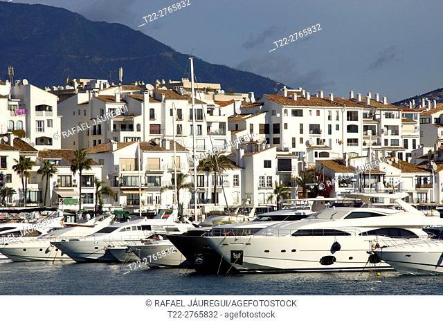 Puerto Banus (Marbella) Spain. Yachts moored in the marina of Puerto Banus in Marbella town