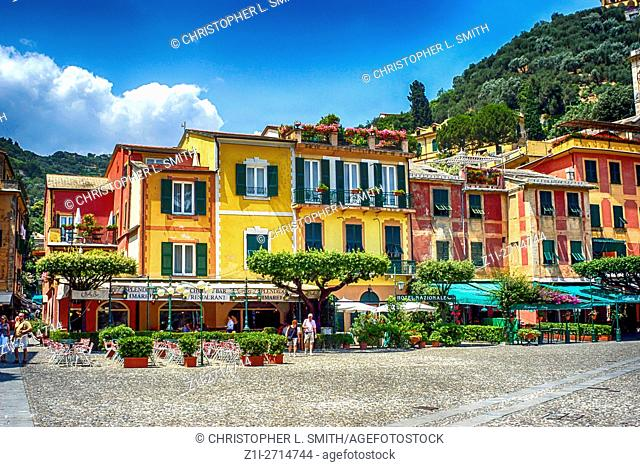 The shops behind the beach harbour at Portofino, Italy