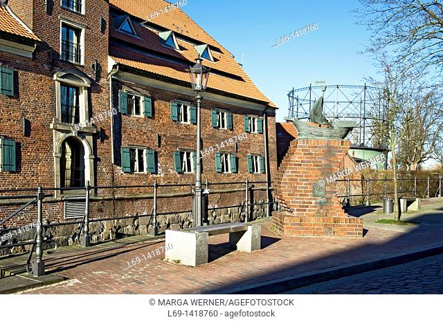 Swedish storehouse at 'Alter Hansehafen', and old gasometer, historic city of Stade, Lower Saxony, Germany