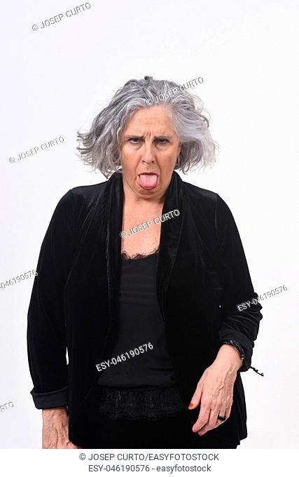 woman yawning on white background