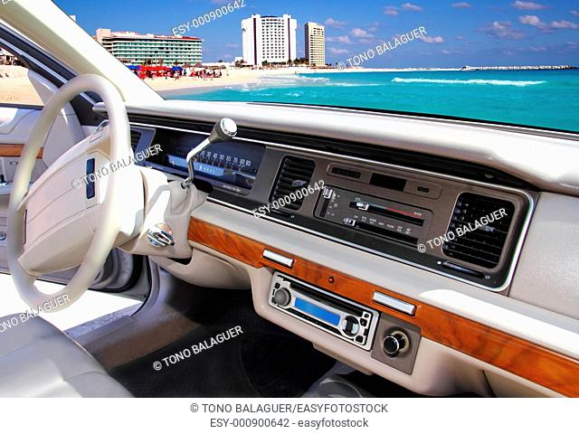 car indoor retro vintage with Cancun mexico beach in window