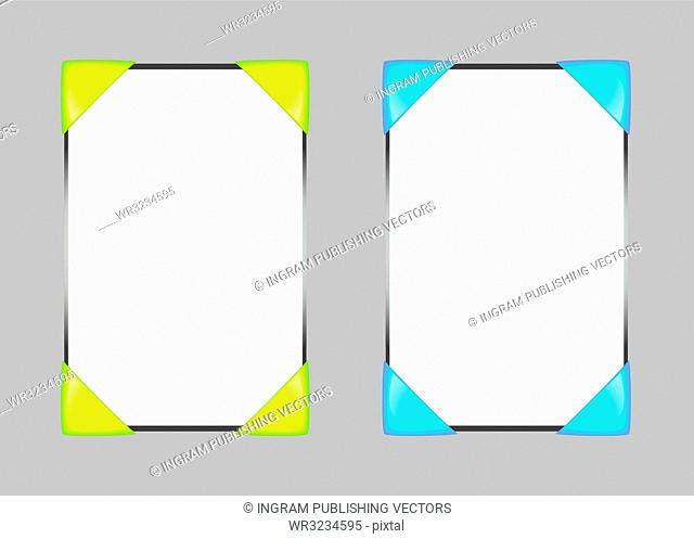 concept for web blog template with yellow or blue corners
