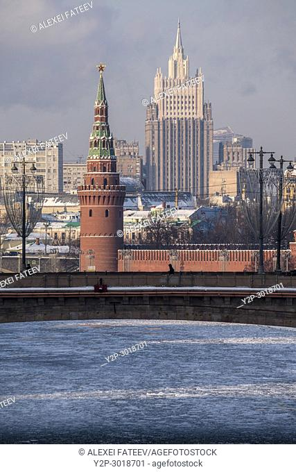 Moscow Kremlin tower and building of Ministry of Foreign Affairs. Moscow, Russia
