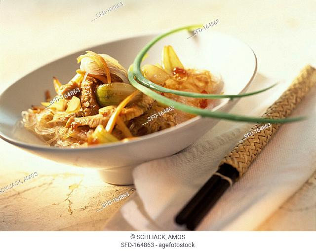 Spicy glass noodle salad with turkey breast
