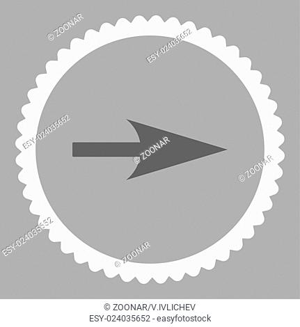 Arrow Axis X flat dark gray and white colors round stamp icon