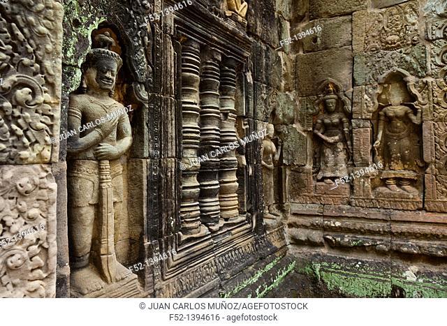 Dvarapala  Preah Khan Temple  Siem Reap town, Siem Reap province  Cambodia, Asia