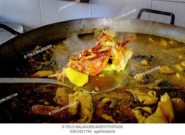 Bullit de peix, typical seafood dish coocked on wood fire, El bigotes restaurant, Cala Mastella, Sant Carles, Municipio Santa Eulària des Riu, Ibiza