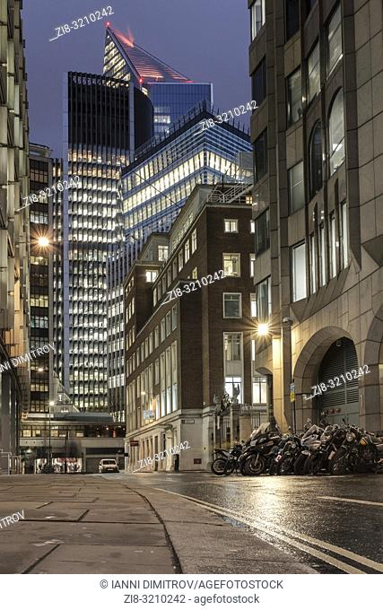 England, London, City of London, Mincing Lane. Contemporary office buildings in the Financial district at night