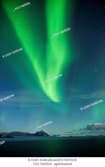 Northern Lights fill sky over sea and mountains, Stamsund, Vestvagoy, Lofoten islands, Norway