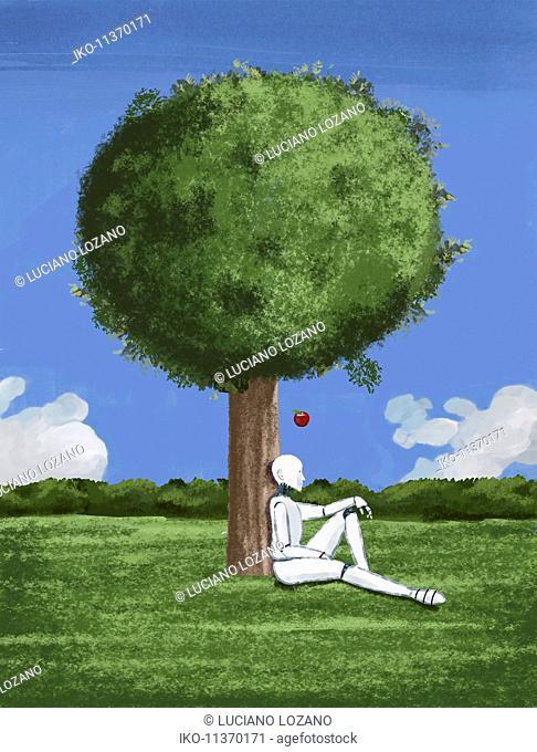 Apple falling on robot sitting under tree