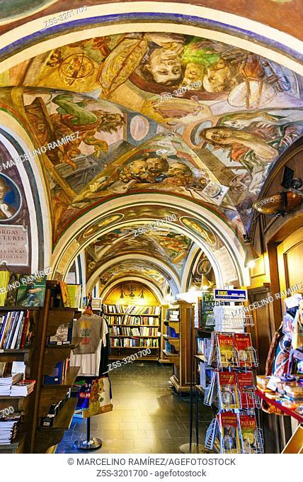 Beautiful Ceiling in Littera Bookstore - Vilnius University Bookstore. Vilnius, Vilnius County, Lithuania, Baltic states, Europe