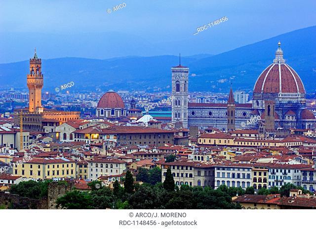 Florence, Palazzo Vecchio at Dusk, Duomo, Cathedral at Dusk, Santa Maria del Fiore cathedral, Tuscany, Italy, Europe