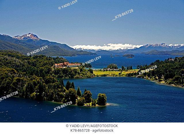 View over Nahuel Huapi National Park lake Nahuel Huapi and Llao Llao hotel, near Bariloche, Patagonia  Argentina