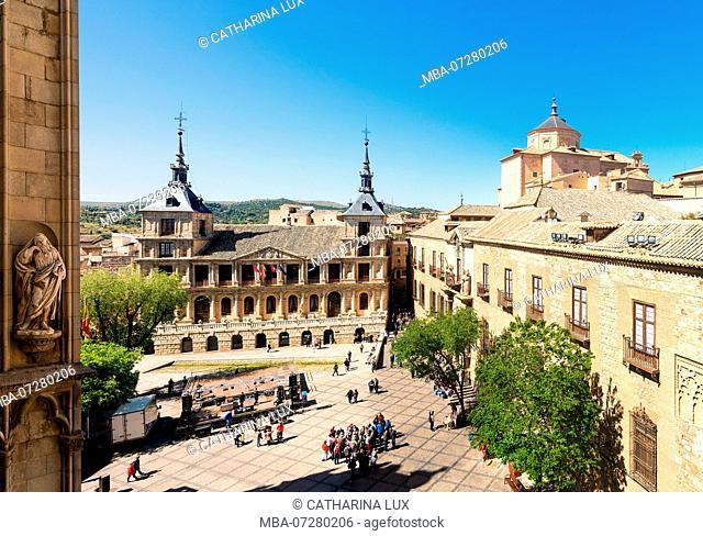 Panorama, Spain, Toledo Catedral, tower climb, view Plaza del Ayuntamiento, City Hall