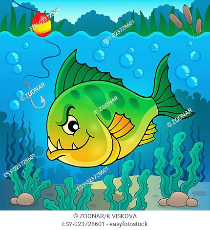 Piranha fish underwater theme 1 - picture illustration
