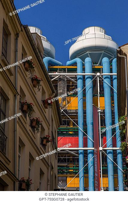 HE GEORGES POMPIDOU NATIONAL CENTER FOR ART AND CULTURE, (CNAC), ALSO CALLED CENTRE BEAUBOURG OR CENTRE POMPIDOU, EXHIBITS COLLECTIONS OF MODERN ART, DESIGN