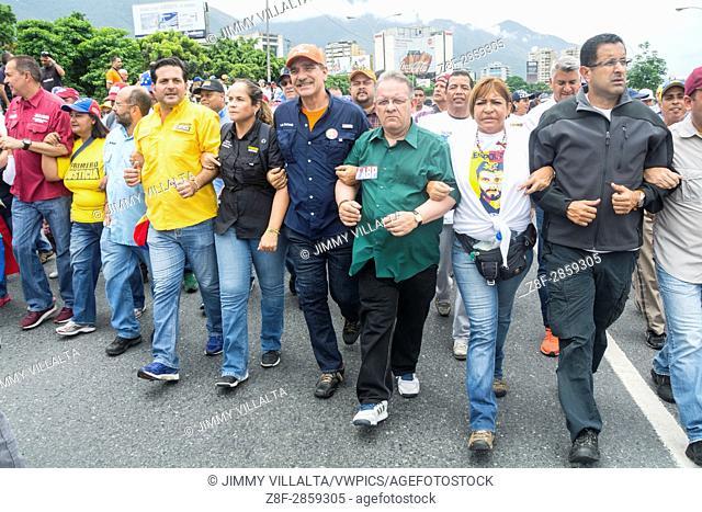 "Diputados opositores marchan juntos en contra del gobierno de Nicolás Maduro. Opposition march on Wednesday, May 4, in rejection of the """"constitutional fraud"""""