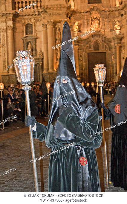 Evening Good Friday or Holy Friday Easter procession through the streets of the city of Murcia, South Eastern Spain, Europe