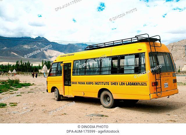 Bus of druk padma karpo institute , Shey , Leh , Ladakh , Jammu and Kashmir , India