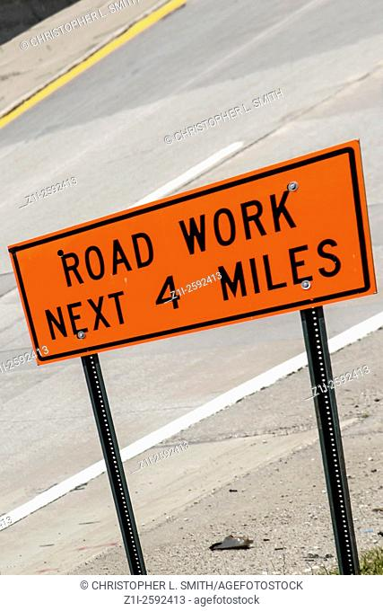Road Works Sign for the next 4 miles