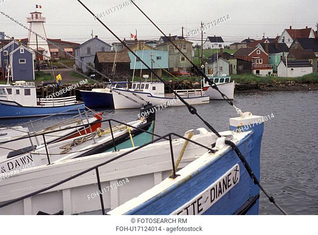 fishing boat, Cape Breton, Cabot Trail, Nova Scotia, NS, Canada, Fishing boats moored in the harbor in the fishing village of Cheticamp on Cape Breton Island on...