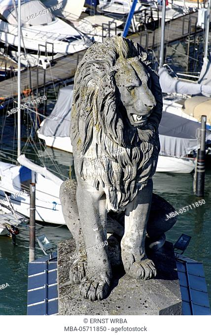 View of the lighthouse, lion in the port entrance, harbour of Lindau, Lake of Constance, Bavarians, Germany