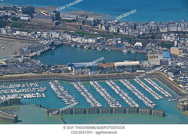 Granville and its marina, aerial shot, Cotentin, 50, Normandy, France