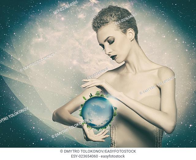 Planet in her hands, abstract eco backgrounds