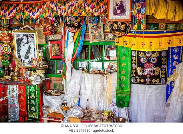 Offerings in Hemis gompa. Indus valley, Ladakh (india)