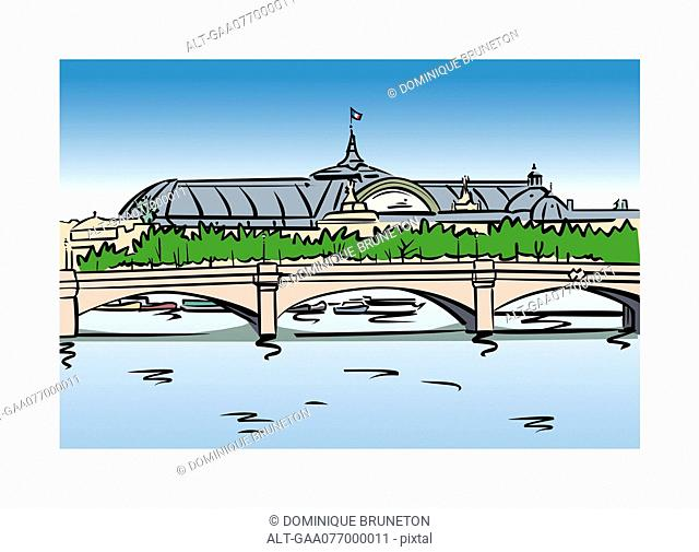 Illustration of the Grand Palais in Paris, France