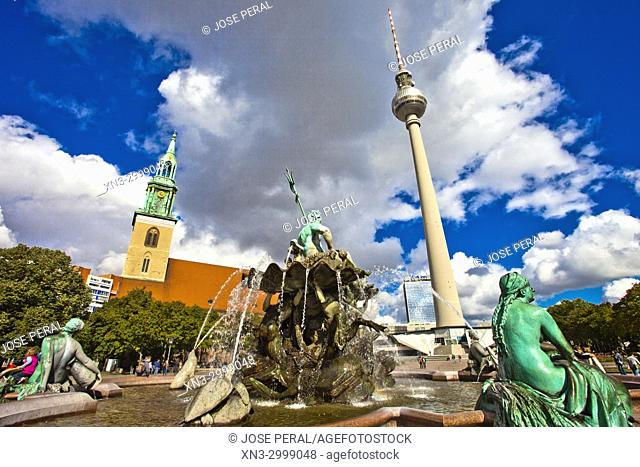 Neptune's fountain, Berliner Fernsehturm, Television Tower, TV Tower, St Mary's Church, Mitte, Berlin, Germany, Europe