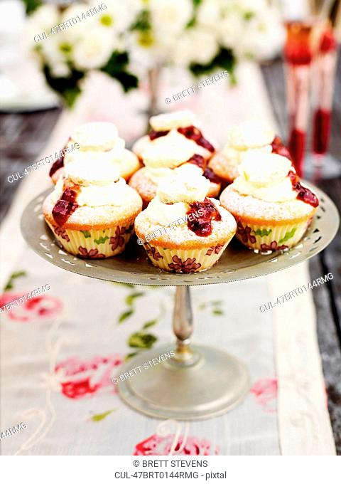 Platter of decorated cupcakes