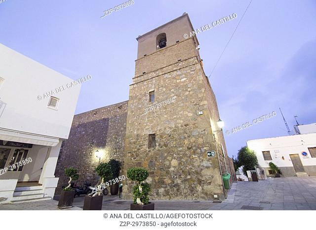 Mojacar white village in, Almeria, Spain.Illuminated parish church