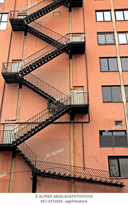 Emergency stairs, industrial building, Barcelona, Catalonia, Spain