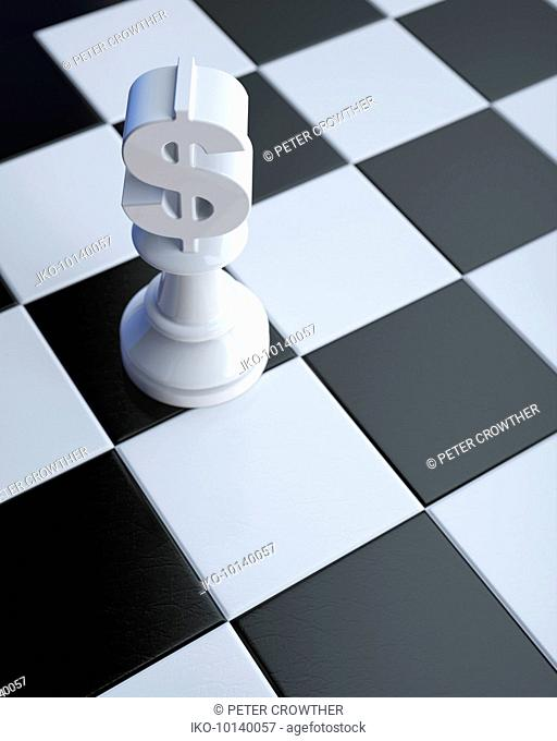 Dollar sign on chess piece