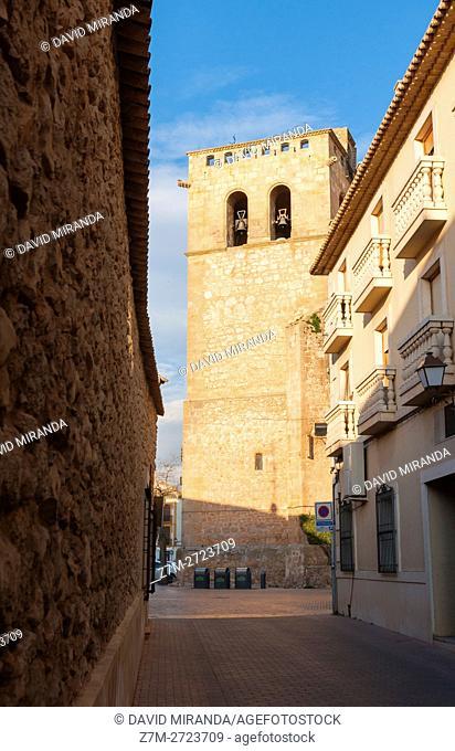 Iglesia de Santiago Apostol Church, San Clemente, Cuenca province, Castile la Mancha, Spain. Historic and Artistic Heritage
