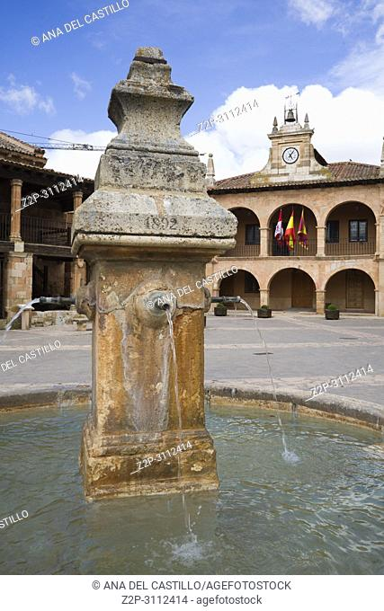 Ayllon Cradle Of The Red Villages Of Segovia Spain. Fountain at main square