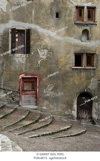Stairs and windows in the old town centre of Annecy
