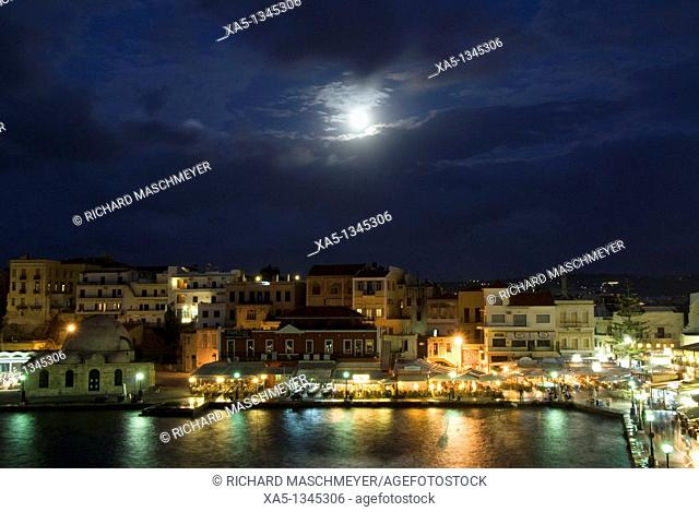 16th century Venetian harbor, evening with moon lit sky, Hania, Crete, Greece