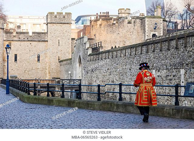 England, London, Tower of London, Tower Walls and Beefeater