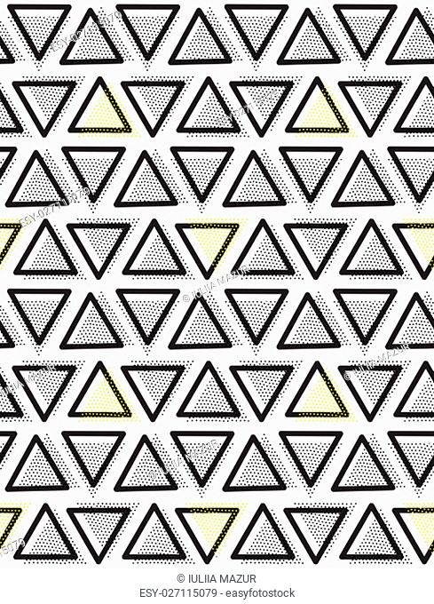 Vector geometric seamless pattern. Repeating abstract triangle in black, yellow, white dots. Modern pointillism design