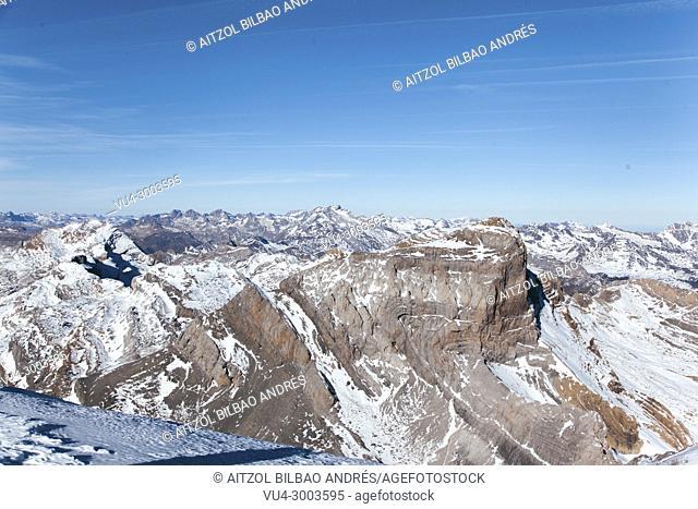 Cilindro de Marbore from Monte Perdido summit, Huesca Pyrenees, Ordesa and Monte Perdido Natural Park