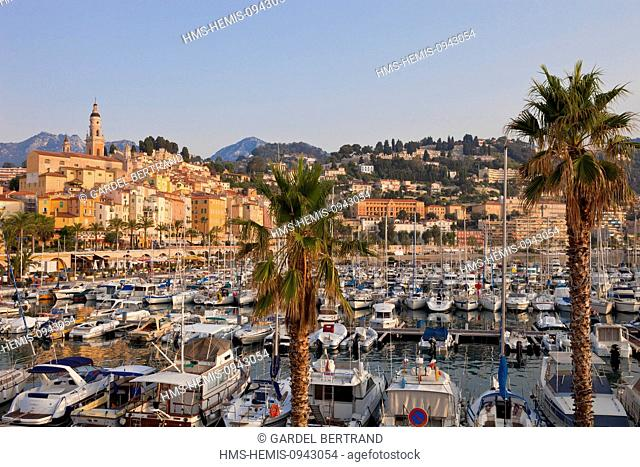 France, Alpes Maritimes, Menton, the harbor and the old town surrounded by the St Michel Basilica