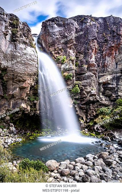 New Zealand, Ruapehu District, Tongariro National Park, Taranaki Falls