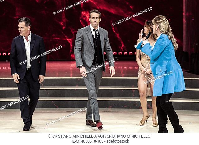 Ryan Reynolds, Josh Brolin, tv presenter Milly Carlucci during the tv show Dancing with the stars, Rome, ITALY-05-05-2018