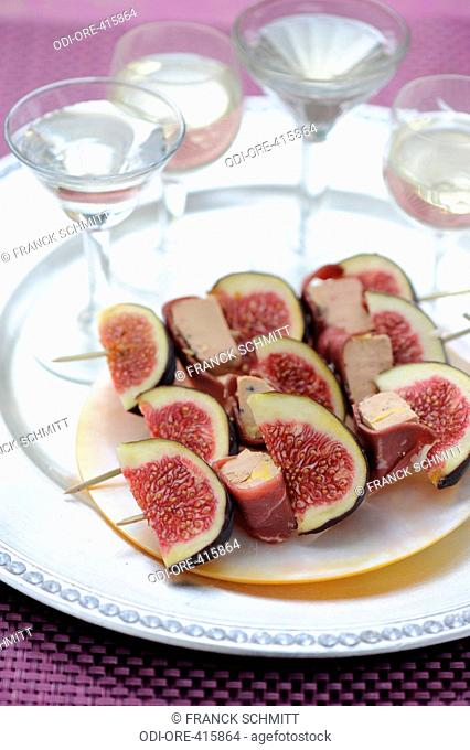 Smoked duck and fig kebab