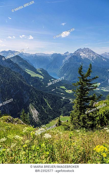 Lake Koenigssee and Watzmann Mountain, 2713 m, view from Kehlsteinhaus or Eagle's Nest in the Alps, Berchtesgaden, Berchtesgadener Land, Bavaria, Germany