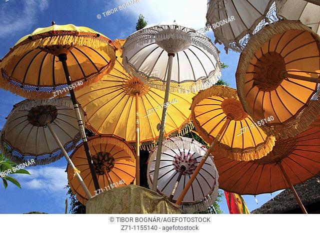 Indonesia, Bali, Mas, temple festival, umbrellas, odalan, Kuningan holiday