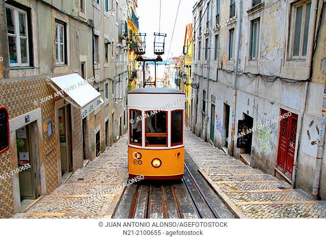 Elevador da Bica. Bairro Alto, Lisbon, Portugal, Europe