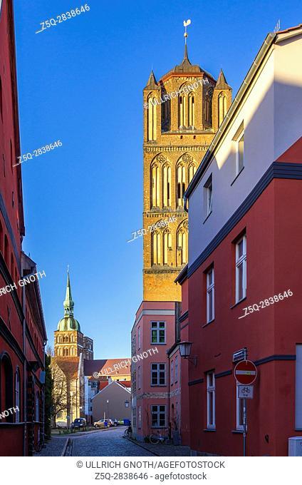 View to St. Jacob's Church and St. Nicholas' Church, Hanseatic City of Stralsund, Mecklenburg-Pomerania, Germany